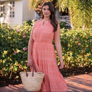 Gal Meets Glam Fiona Tiered Maxi Dress Coral 12